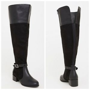 torrid Shoes - Torrid Black Faux Suede Over The Knee Boots 9W